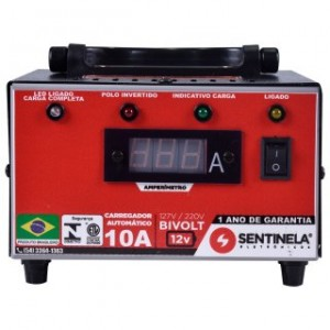 Carregador Aut. de bateria 12v bivolt 10a SENTINELA